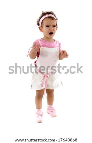 Upset Little Child on white background . - stock photo
