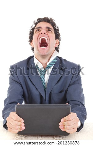 upset man in suit uses tablet for work or for private purpose. Surfing through the internet, perform duties online, pay bills online. Hacked account. Game of chance over internet, online gambling - stock photo