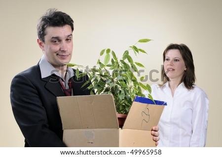 upset man leaving office - stock photo
