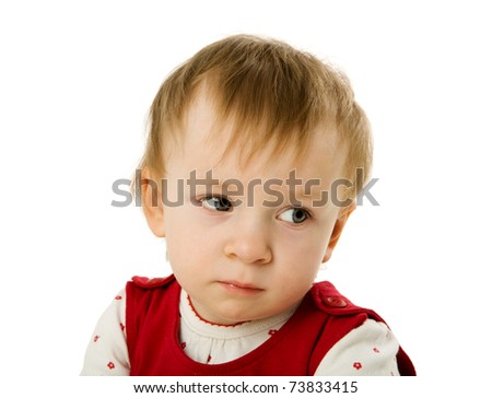 Upset one year child isolated on white