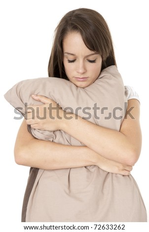 Upset teenager isolated on white - stock photo