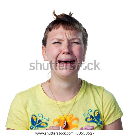 Upset woman shedding tears, crying wildly - stock photo