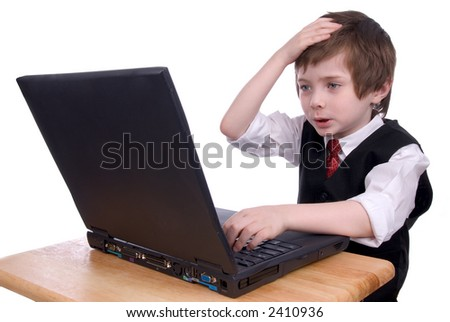 upset young boy Working on a laptop  Computer