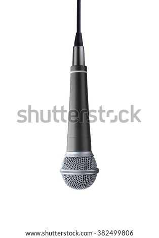 upside down microphone isolated on white background - stock photo