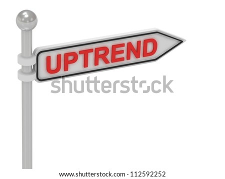 UPTREND arrow sign with letters on isolated white background