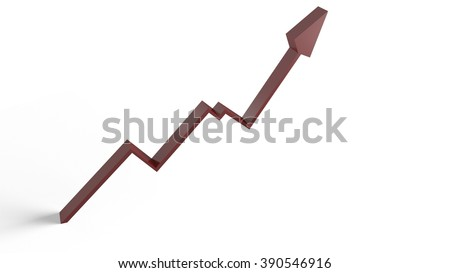 Upward Trending Line Graph Graphic with Arrow in 3D Render - stock photo