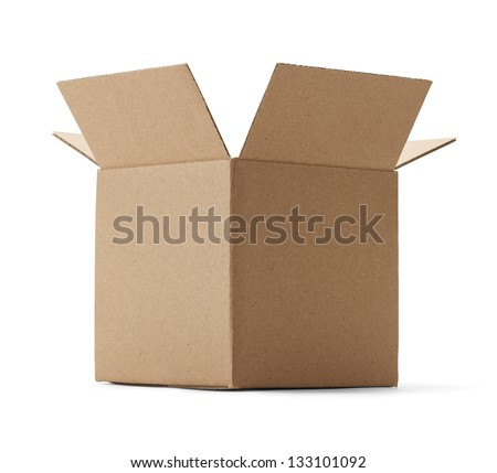 Upward view of a brown cardboard box isolated on a white background. - stock photo