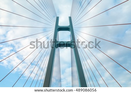 upward view of the cable stayed bridge closeup
