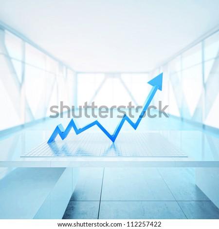 Upwards arrow - stock photo