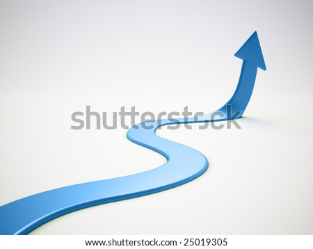 Upwards arrow - stock photo