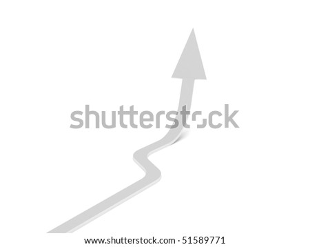 Upwards arrow. White arrow isolated on white background. High quality 3d render. - stock photo