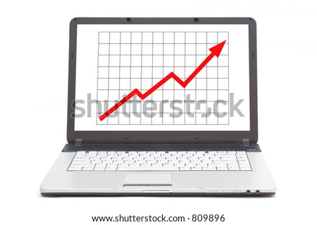 upwards going graph on the screen of notebook - stock photo
