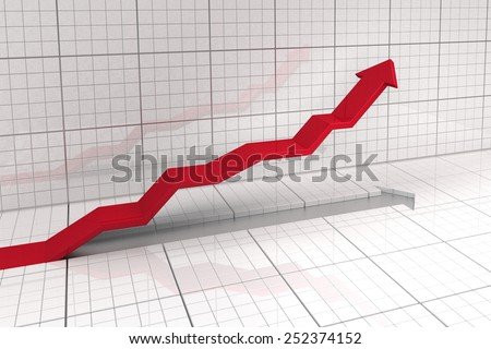 upwards leading arrow in stock market exchange - stock photo