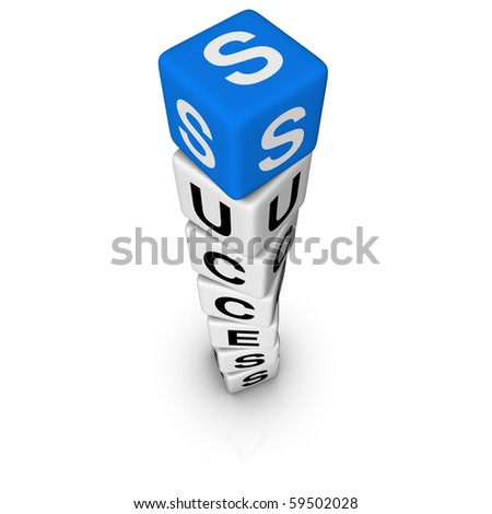 upwards success  (blue-white cubes crossword series) - stock photo