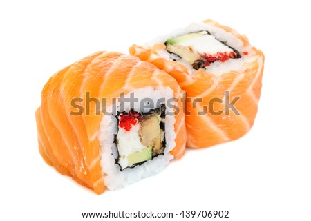 Uramaki maki sushi, two rolls isolated on white. Salmon with philadelphia, shrimp, avocado, eel and tobico - stock photo