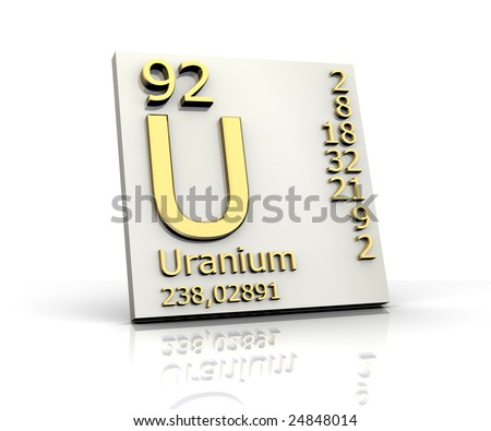 Uranium form Periodic Table of Elements - stock photo