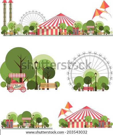 urban amusement park circus tent roundabouts in the sky kites and balloons for large format  printing on white and transparent background consist of several compositions  - stock photo