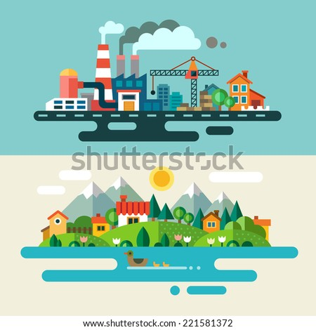 Urban and village landscape. Ecology, environmental protection: production, factory, plant, pollution, smoke, building. Flat illustrations - stock photo