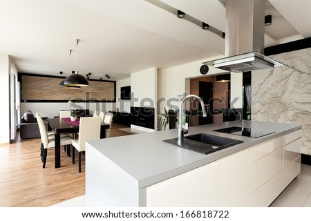 Urban apartment - bright house interior with black additions - stock photo