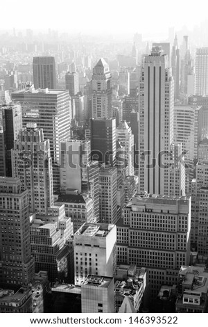 Urban architecture in black and white from New York City Manhattan. - stock photo