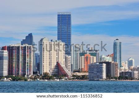 Urban architecture over sea from Miami Florida in the day. - stock photo