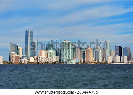 Urban architecture over sea from Miami Florida in the day. - stock photo