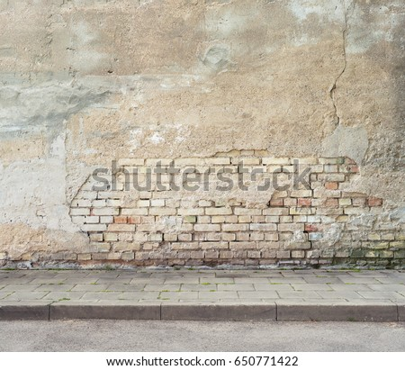 Grunge Obsolete Street Wall And Pavement