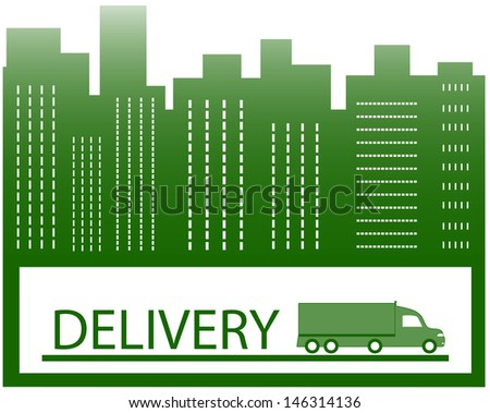 urban background with american truck for delivery symbol