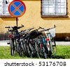 urban bikes in parking - stock photo