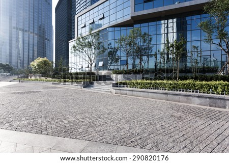 urban building with cement floor  road - stock photo