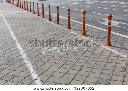 urban ciclyng lane, bicycle path, bike path, bike lane - stock photo
