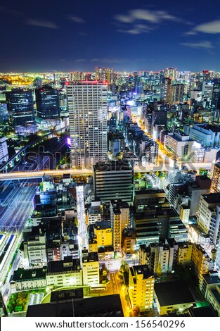 Urban city in Tokyo at night - stock photo