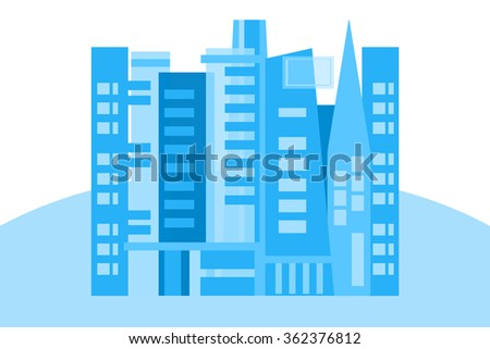 Urban city isolated on white background - stock photo