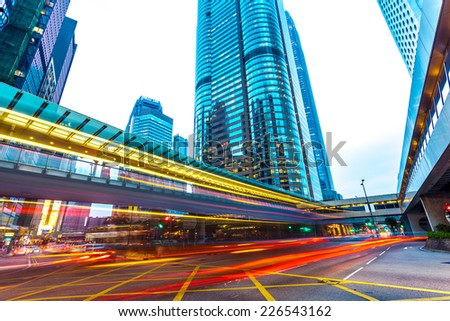 urban city traffic trails ,timelapse - stock photo