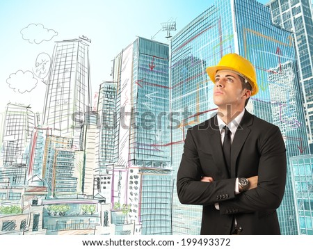 Urban city with sketch of an architect - stock photo