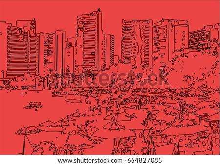 Line Art City : New york city architecture skyline black silhouette line pixel