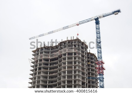 urban construction of an apartment building - stock photo