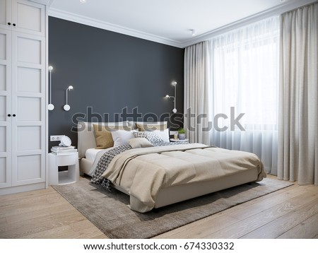 Urban Contemporary Modern Scandinavian Bedroom Interior Stock