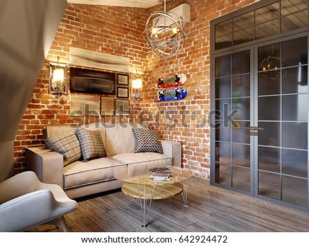 Urban Contemporary Modern Scandinavian Loft Living Room Interior Design On  Attic With Gray And Red Brick