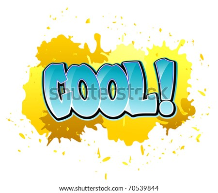 Urban cool graffiti design on blobs background. Vector version also available in gallery - stock photo