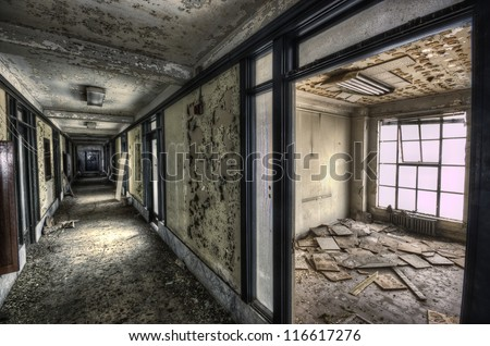 urban decay of two rooms - stock photo