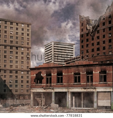 Urban Destruction, illustration of the aftermath of a disaster - stock photo