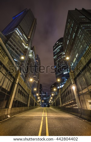 Urban Downtown Vancouver during a cloudy night in an underground parking lot. - stock photo