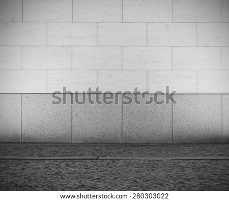 Urban empty street wall background, black and white - stock photo