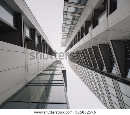 Urban Geometry, glass building. modern architecture, glass and steel. Abstract architectural design. Inspirational. Industrial design. .Modern building. Look up. - stock photo