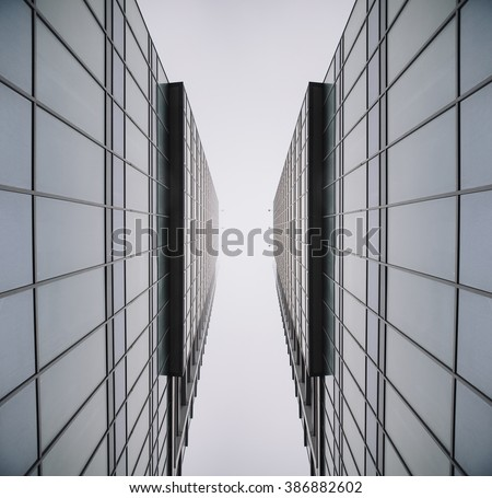 Urban Geometry, glass building. modern architecture, glass and steel. Abstract architectural design. Inspirational, Symmetry. Industrial design. .Modern building. Look up. - stock photo