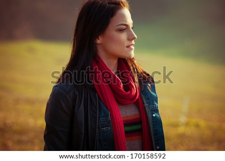 urban girl portrait at sunset at park - stock photo