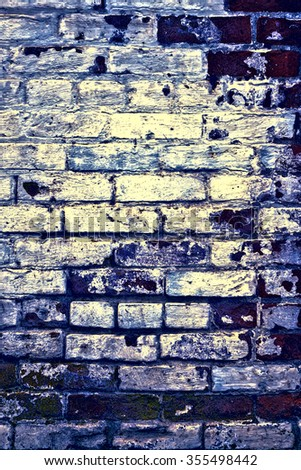 Urban grunge: Detail of whitewashed exterior brick wall, with filtered effects, for texture and background (fourth in a series of eleven) - stock photo