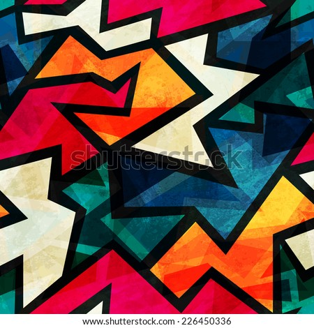 urban grunge geometric seamless pattern (raster version) - stock photo