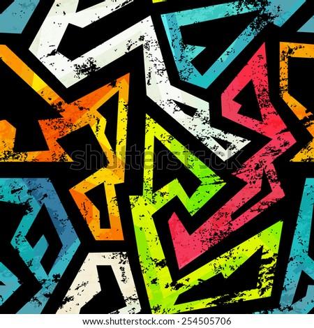 urban grunge geometric seamless pattern (raster version) - stock photo